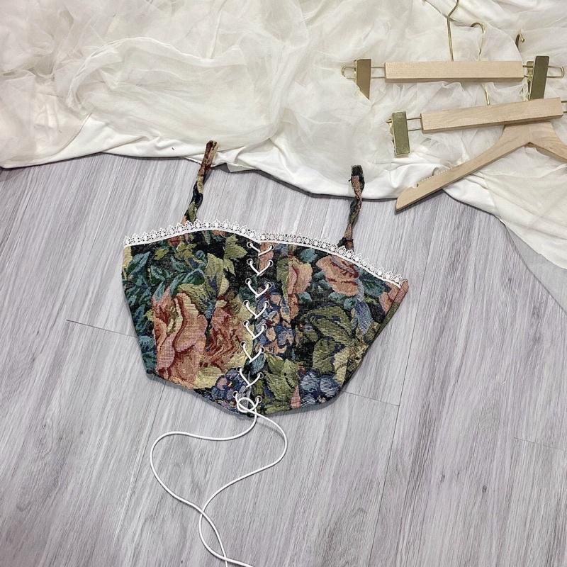 Áo 2 dây thổ cẩm đan dây có mút ngực siêu đẹp- ann9399