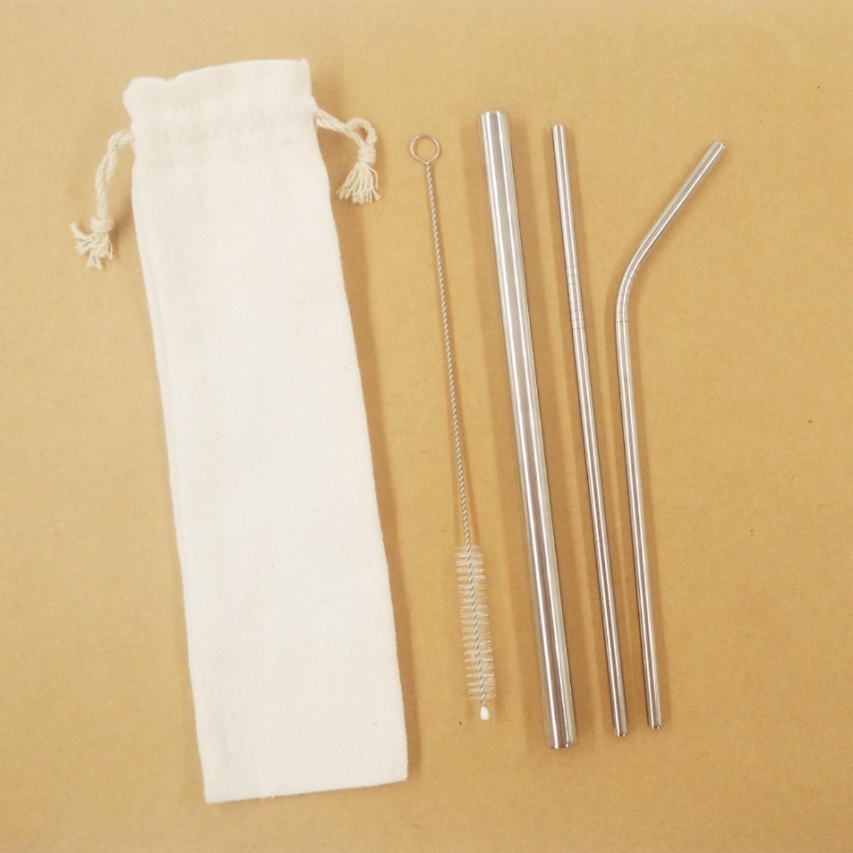 Bộ 3 ống hút inox cao câp , cọ rửa và túi đựng