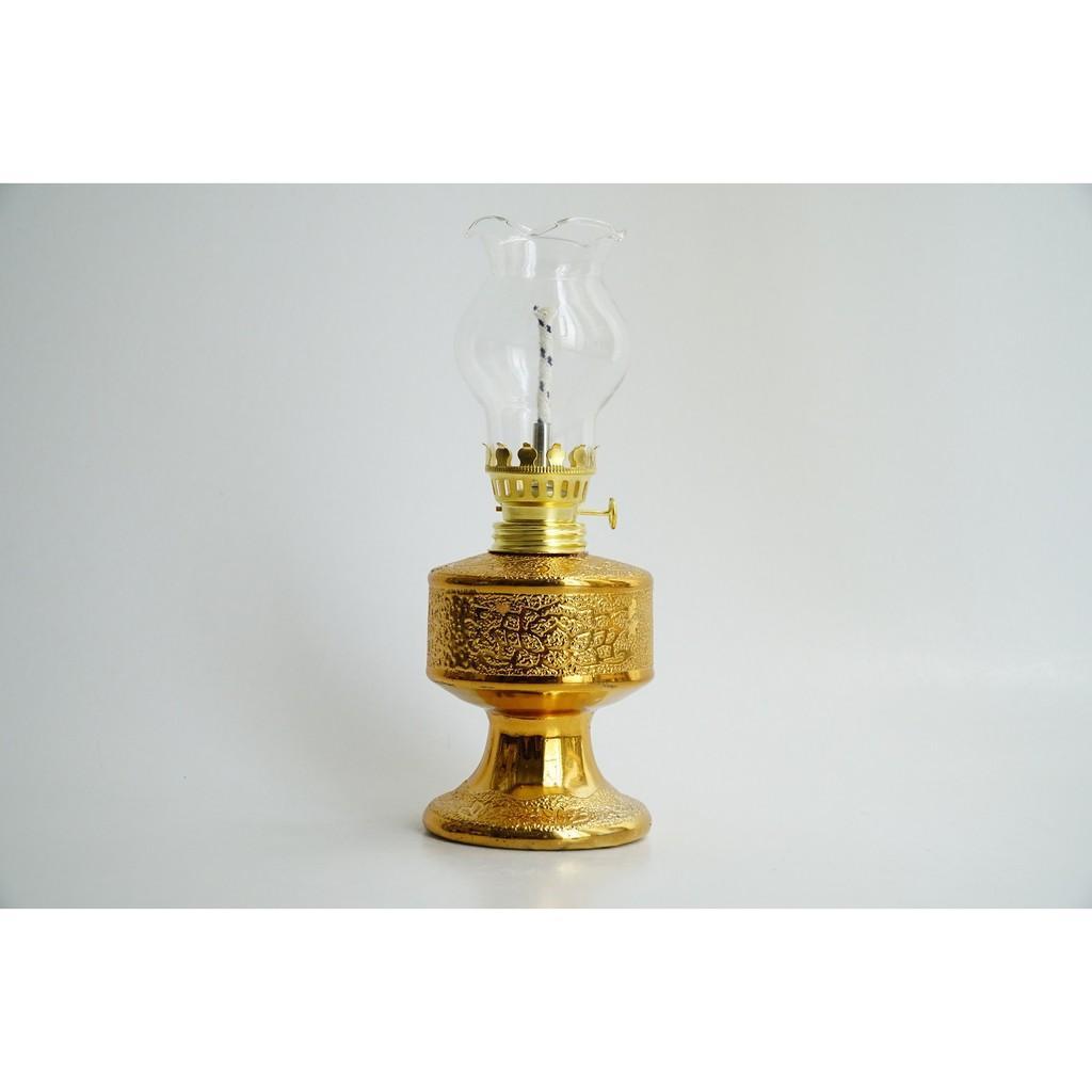 Đèn dầu thờ cúng truyền thống chân cao kim sa vàng - Cao 18cm