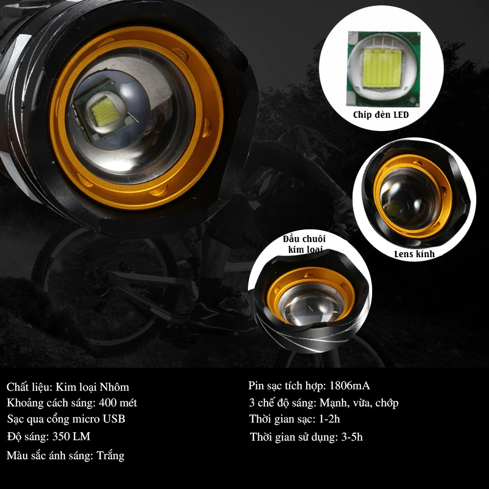 Đèn Pin, Đèn Pha Gắn Phía Trước LED Xe Đạp Siêu Sáng T6 Giúp Đạp Xe An Toàn Ban Đêm 3 chế độ Có Sạc Điện USB - Hàng chính hãng