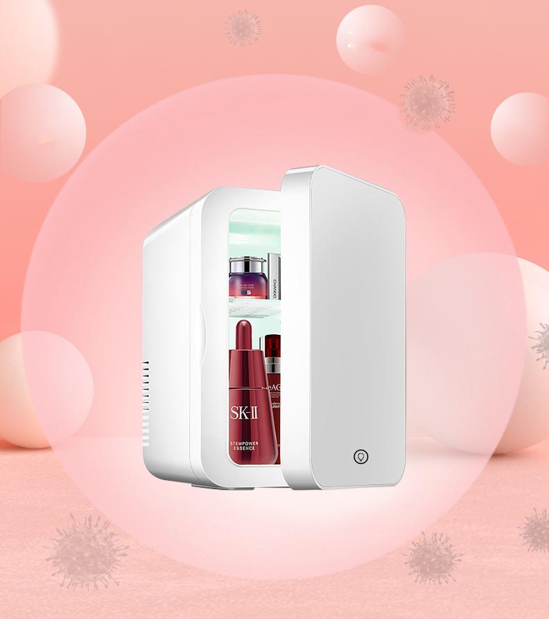 Tủ lạnh 8l đựng mỹ phẩm có gương và đèn led tiện lợi