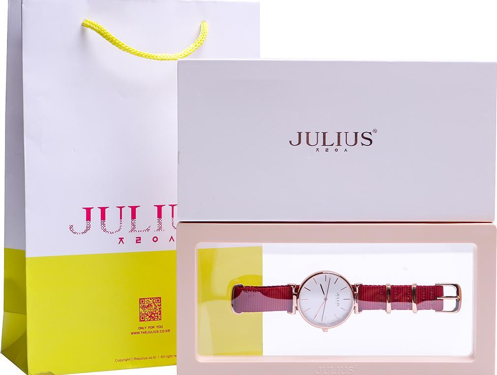Đồng Hồ Nữ Julius Hàn Quốc JA-1245LB Dây Vải Màu Đỏ