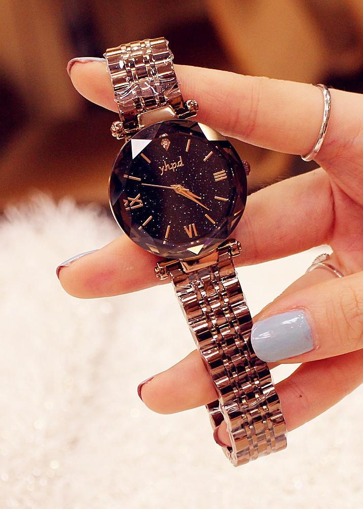 Đồng hồ nữ dây kim loại cà phê mặt tròn đen cá tính ĐHĐ14605