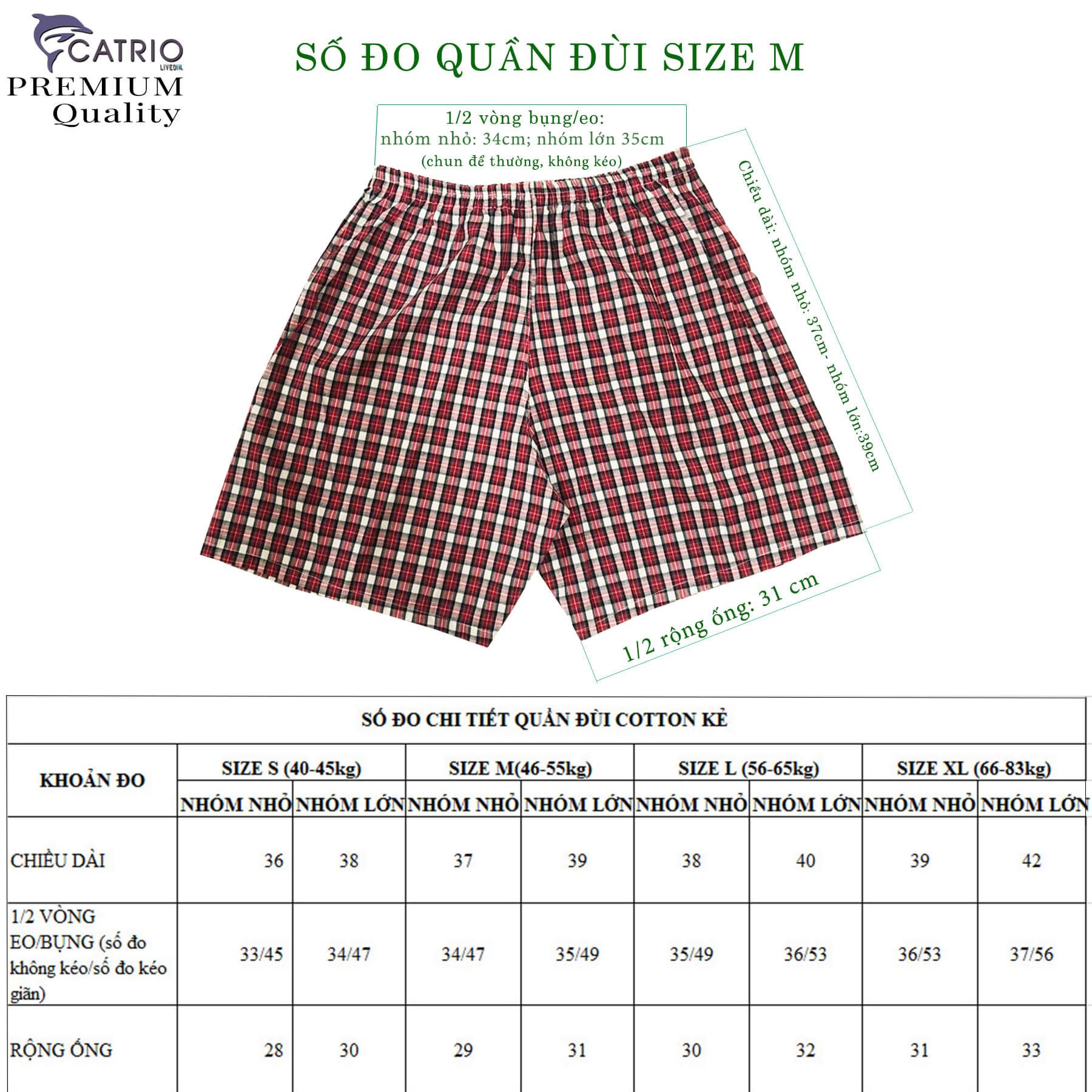 QUẦN ĐÙI NAM CATRIO MÀU 26 cho các bé lớn, nam trung niên, cao tuổi có cân nặng từ 40kg đến 83kg là quần short nam bé trai size đại, được làm từ vải may áo sơ mi thuộc BST quần short áo phông mùa hè CATRIO 2021