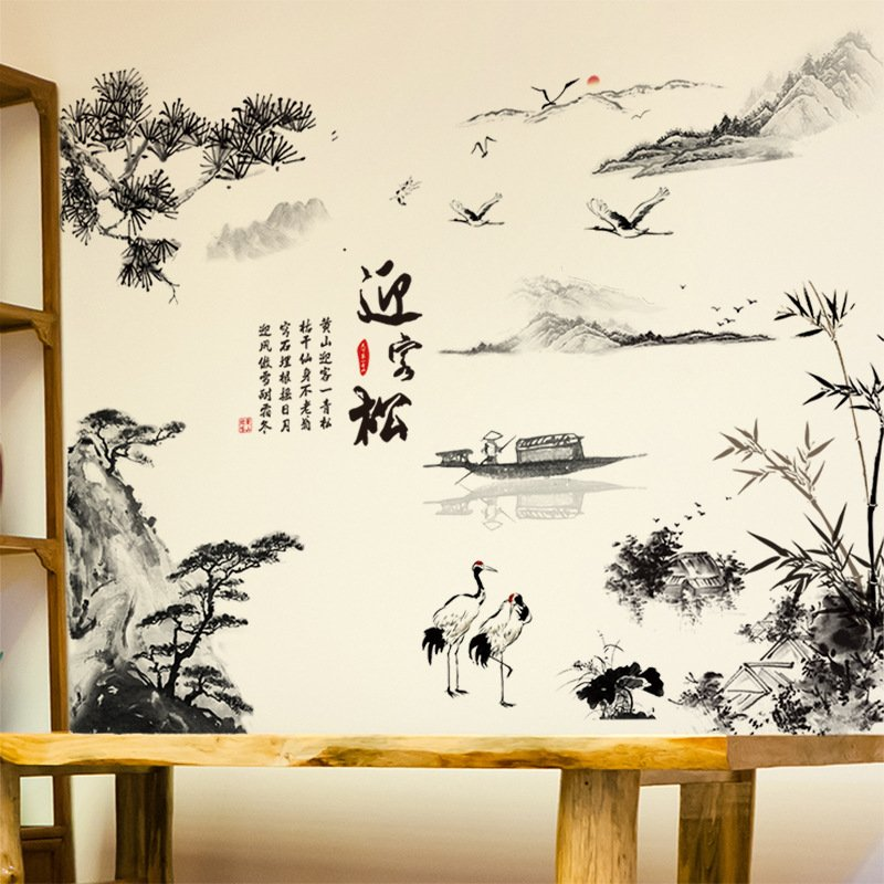 Decal dán tường thủy mặc đen trắng nghệ thuật
