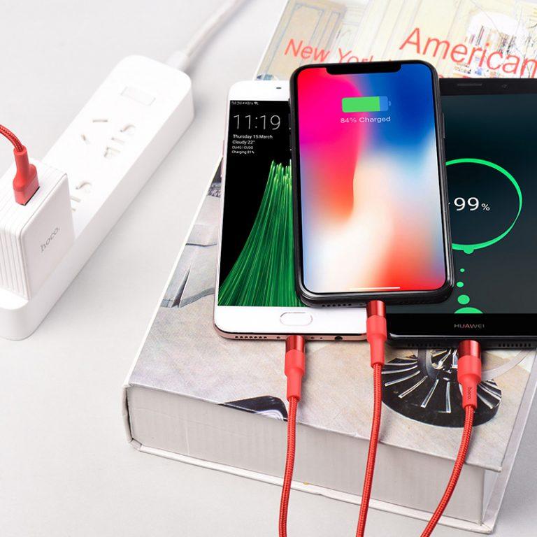 Cáp sạc đa năng 3 cổng sạc (Lightning + Micro USB + Type C) Hoco sạc được cùng lúc nhiều thiết bị, dây cáp bọc dù, chống đứt, chống rối, chống gãy gập dành cho điện IOS và Android dài 100cm, X26 - Hàng chính hãng