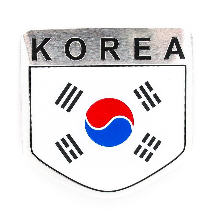 Bộ 2 tem nhôm cờ KOREA độc đáo cá tính ( 5 x 8cm và 5 x 5cm)