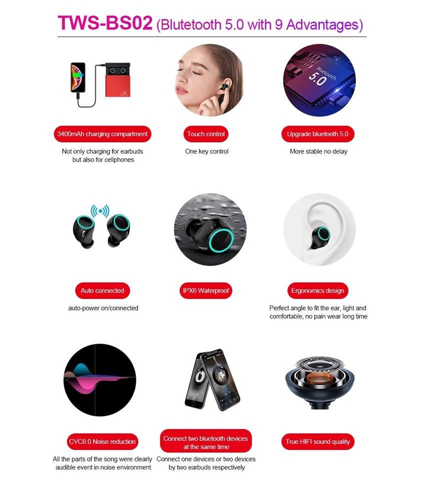 Tai Nghe Bluetooth Không Dây Âm Thanh Nổi Hi-Fi Iskil BS02 Bluetooth 5.0 Cao Cấp, Khử Tiếng Ồn Cảm Ứng Vân Tay Tích Hợp Hộp Sạc 3400 mAh Màu Đen