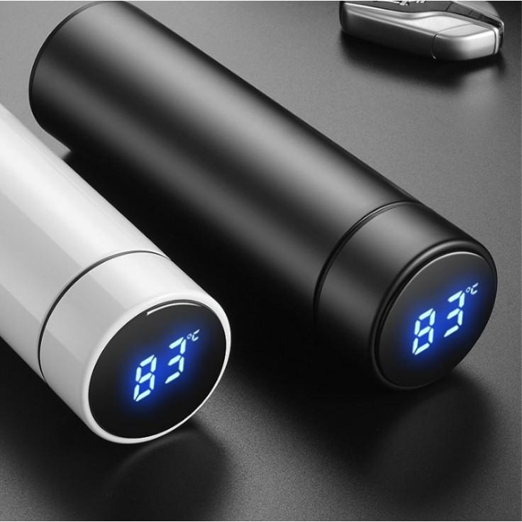Bình giữ nhiệt có nhiệt kế LED báo nhiệt độ (giao màu ngẫu nhiên) tặng kèm túi zip hoạ tiết đựng trà