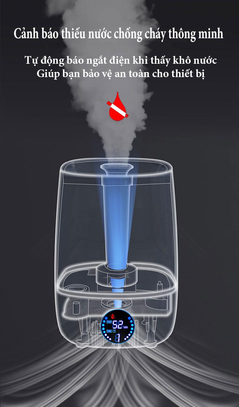 Máy Phun Sương Tạo Ẩm, CHIGO ZG-512 Dung tích Lớn 4 lít - Màn Hình Hiển Thị Nhiệt Độ Và Thời Gian Hẹn Giờ- Diện tích hoạt động 35m2, Hệ Thống Lọc Khuẩn ion Bạc Thông Minh Và Hệ Thống Báo Hết Nước Chống cháy- Hàng chính hãng