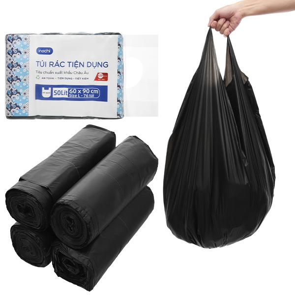 Túi rác tự hủy inochi tiện dụng SOJI có quai xuất nhật Dùng đựng rác gia đình ,Bao đựng rác văn phòng đủ size -màu đen mềm nhẹ dai túi rác tự hủy giúp bảo vệ môi trường