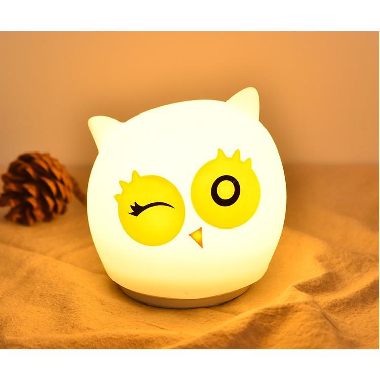 Đèn ngủ cảm ứng hình cú mèo ( Tặng pin cell sạc và dây cáp sạc )