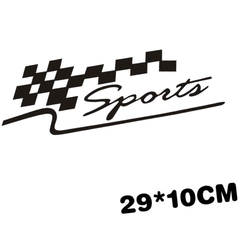 Sports - Đen - Sticker transfer hình dán trang trí Xe hơi Ô tô size 27x9cm