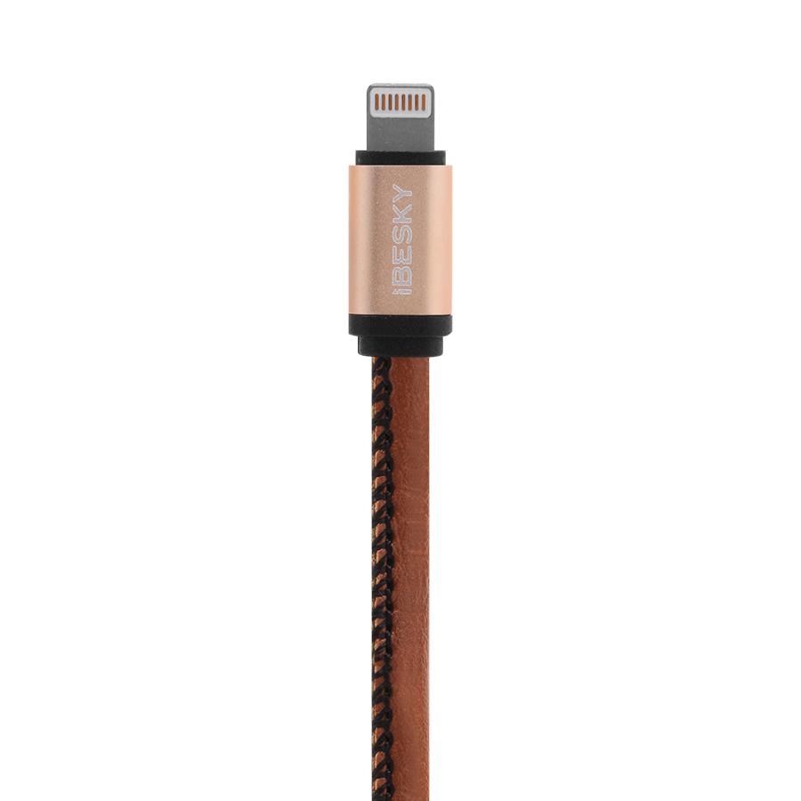 Dây Cáp Sạc Lightning Cho iPhone iBesky 1m (B1385) (Nâu) - Hàng Nhập Khẩu
