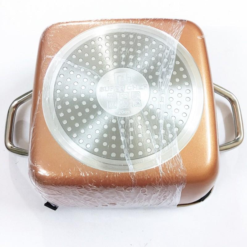 Nồi lẩu vuông nắp kính SUPER CHEF h.kim tráng men đáy từ 20*20cm SC_G2020C