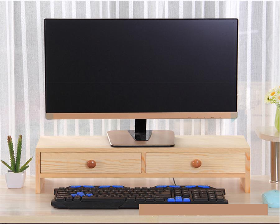 Kệ gỗ để màn hình có 2 ngăn tủ màu gỗ cao cấp 9008