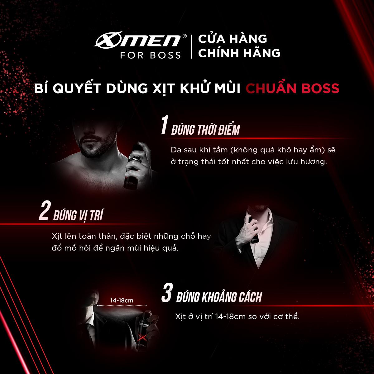 Combo 2 Xịt Khử Mùi XMen For Boss Intense -Mùi Hương Trầm Đầy Nội Lực 150ml