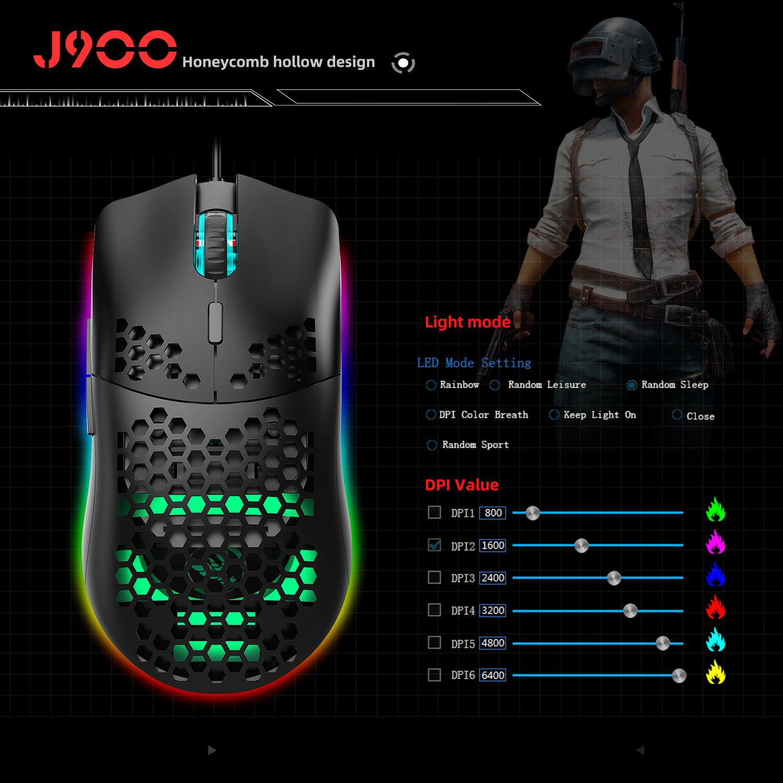 Chuột Quang MACRO HXJS J900 RGB Bề Mặt Lưới Xuyên Thấu Cực Đẹp DPI 6400 - Hàng chính hãng