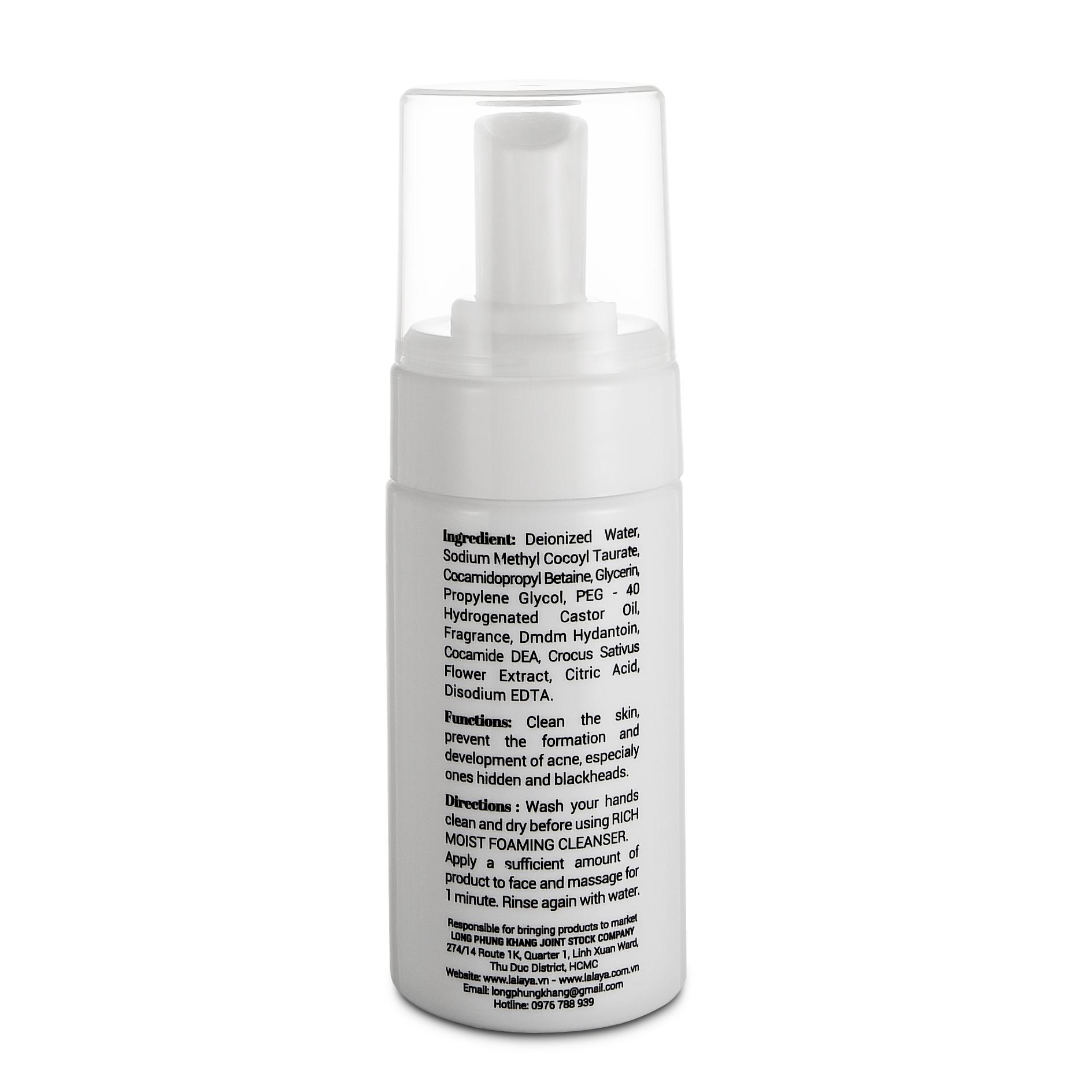 Sữa rửa mặt tạo bọt dịu nhẹ làm sạch sâu & giảm nhờn công thức không xà phòng đặc biệt cho da nhạy cảm Lalaya Rich Moist Foaming Cleanser LLY07