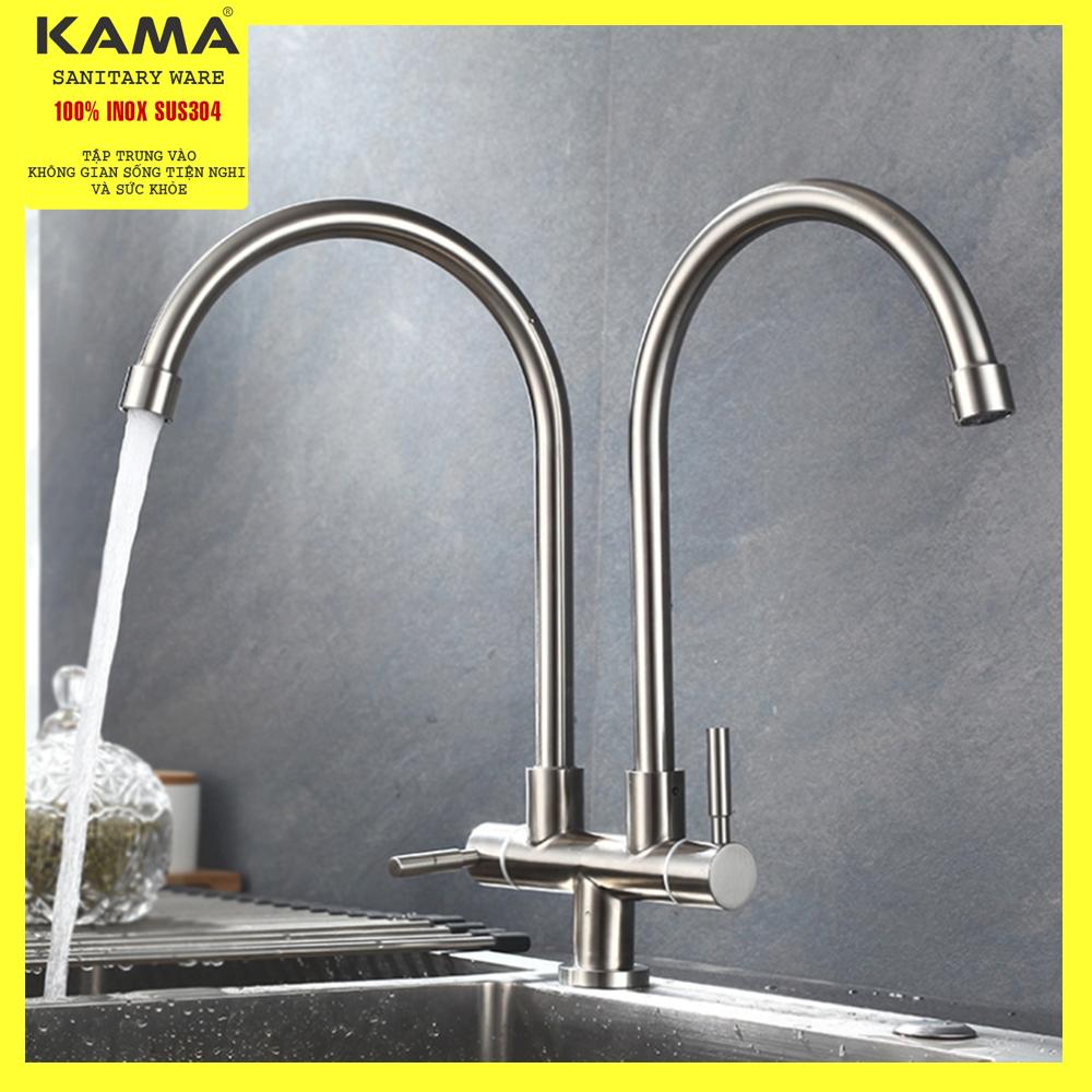 Vòi rửa chén lạnh đôi KAMA NT4CL inox 304, vòi nước chỉ lạnh phù hợp với mọi bồn rửa chén - HÀNG CHÍNH HÃNG