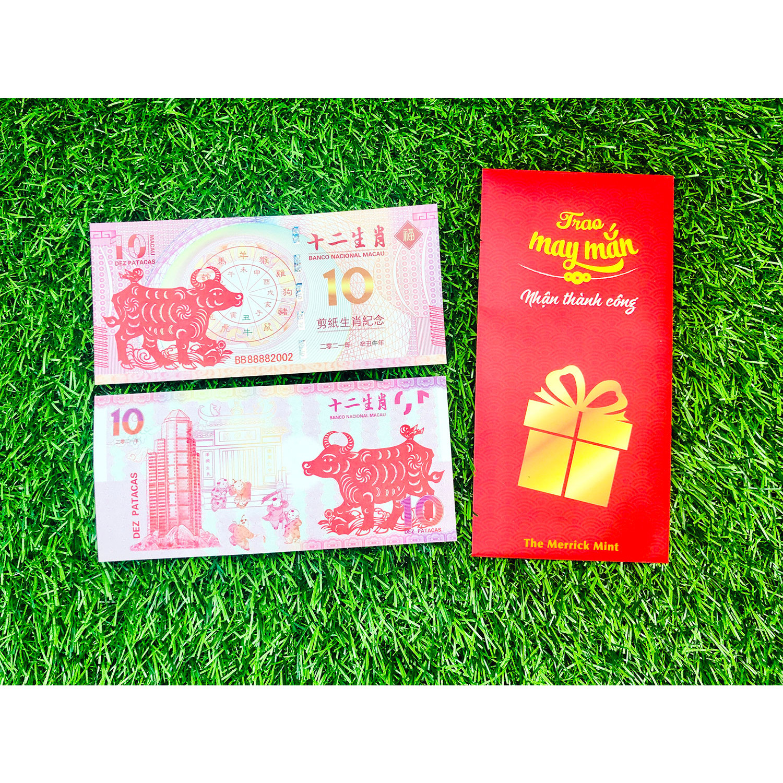 Tờ tiền con trâu 10 của Macao lưu niệm, vật phẩm lưu niệm Tết, tặng kèm bao lì xì đỏ Trao May Mắn Nhận Thành Công - The Merrick Mint - PVN2792