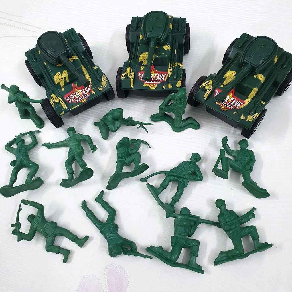 Combo 03 mô hình xe tăng và 12 lính đánh bộ (xanh lá)