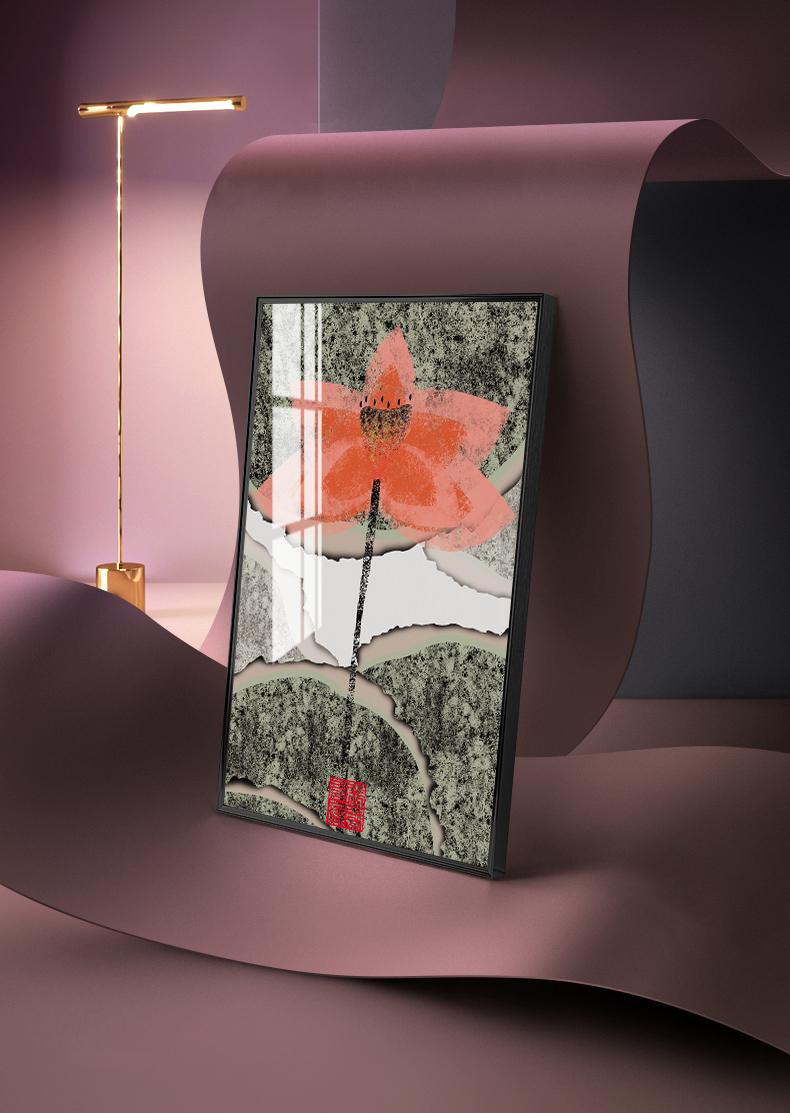 Tranh phong thuỷ Mica 3 bức Hoa sen trừu tượng (Sự tinh khiết). Model: AZ3-0102