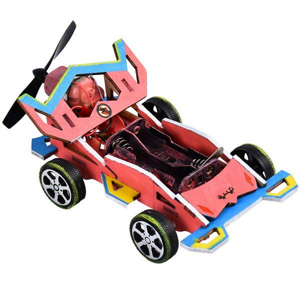 Bộ đồ chơi khoa học tự làm ô tô dạng xe đua chạy động lực gió – DIY Wood Steam