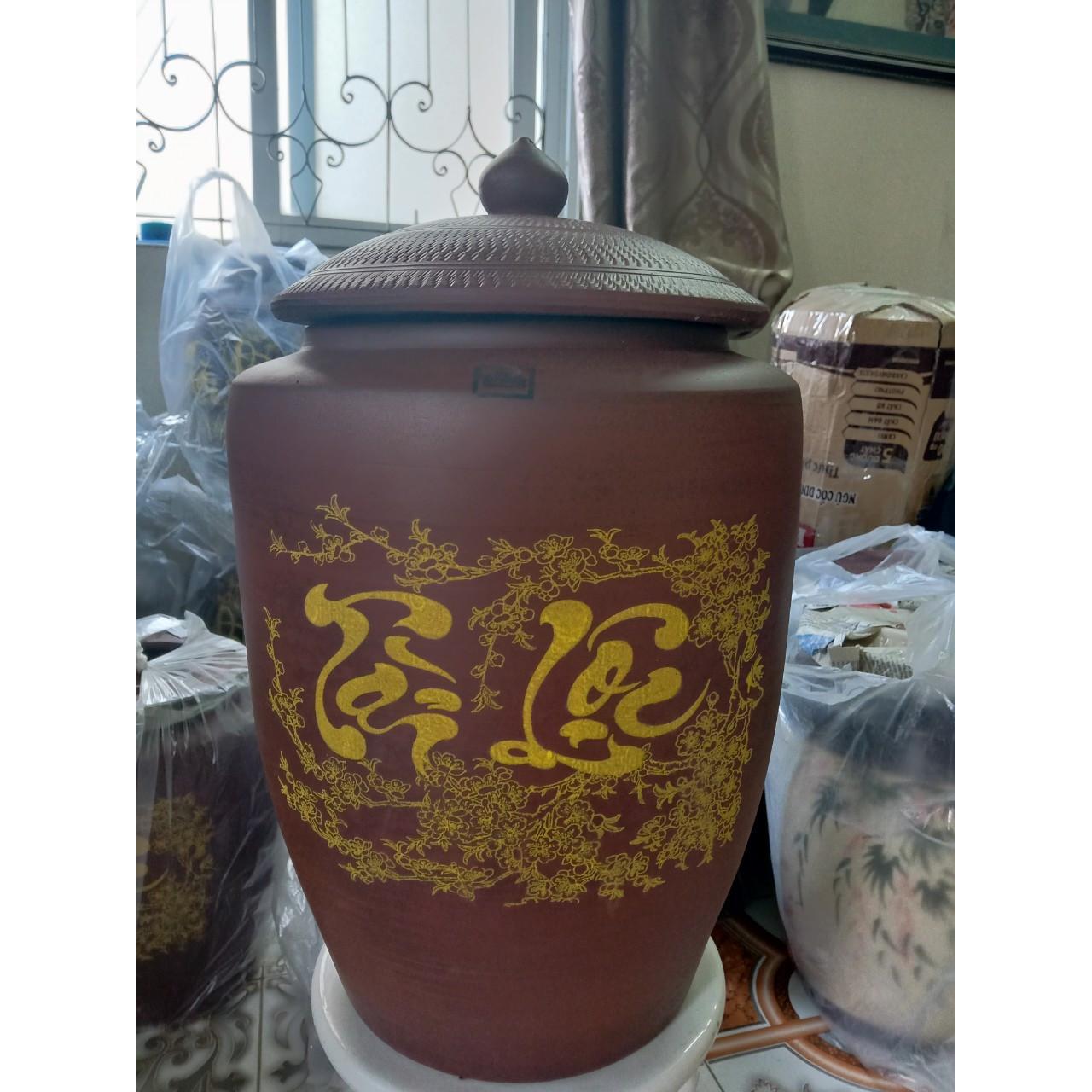 Hũ đựng gạo sành Bát Tràng màu nâu đỏ loại 20Kg