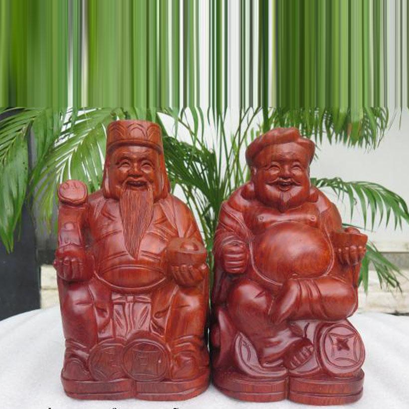 Bộ tượng gỗ hương thần tài thổ địa cao 30cm