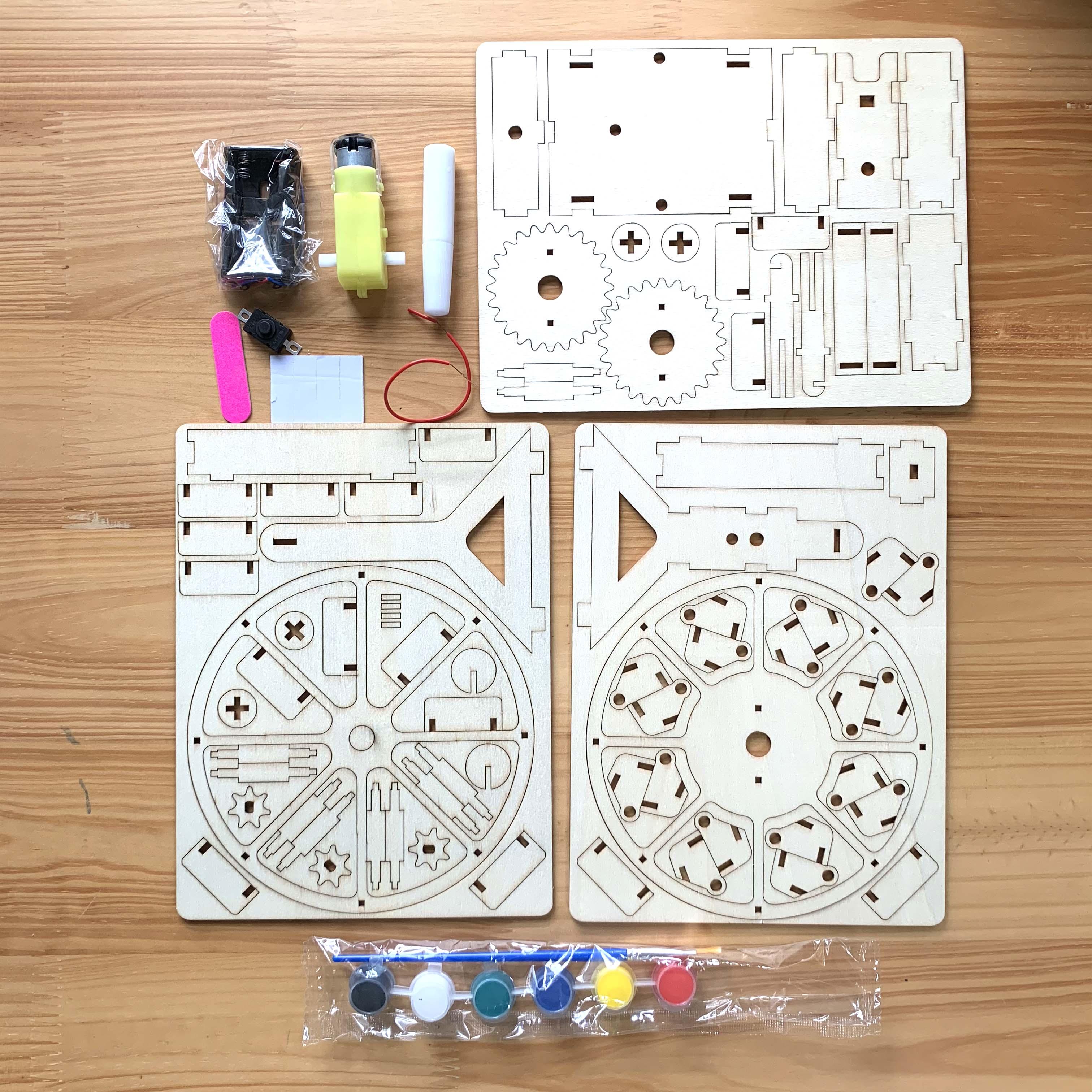 Bộ đồ chơi khoa học tự làm vòng đu quay mặt trời bằng gỗ – DIY Wood Steam