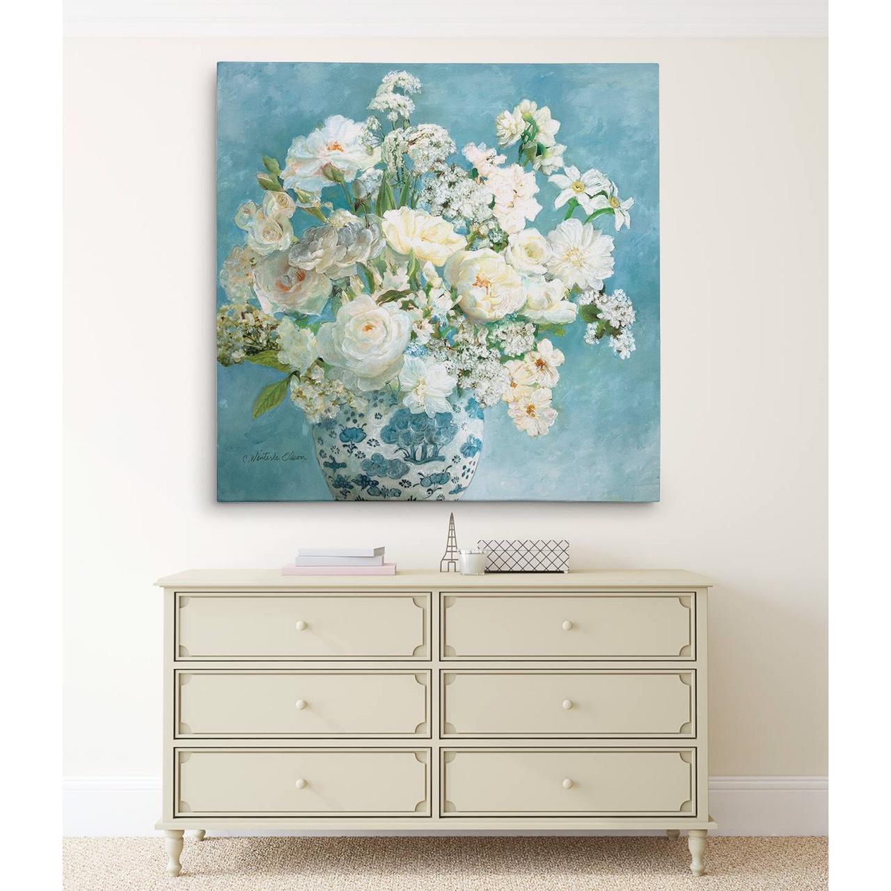 Tranh canvas hoa tĩnh vật hiện đại treo tường, trang trí phòng khách, phòng ăn - Tặng kèm đinh treo tranh chuyên dụng và khung bo ngoài màu trắng