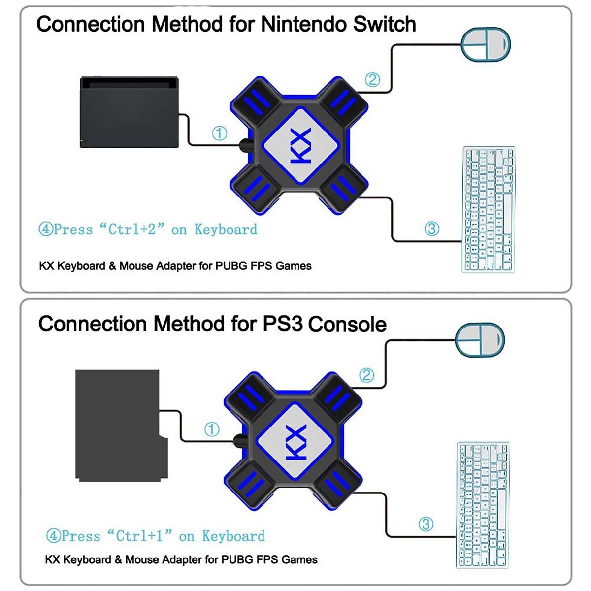 Bộ chuyển đổi bộ điều khiển trò chơi USB VINETTEAM KX Bộ chuyển đổi chuột Bàn phím cho Switch / Xbox / Ps4 / Ps3 - Đen- Hàng Nhập Khẩu