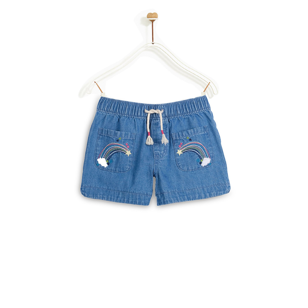 Quần Short Bé Gái M.D.K Rainbow Embroidered Pull On Shorts