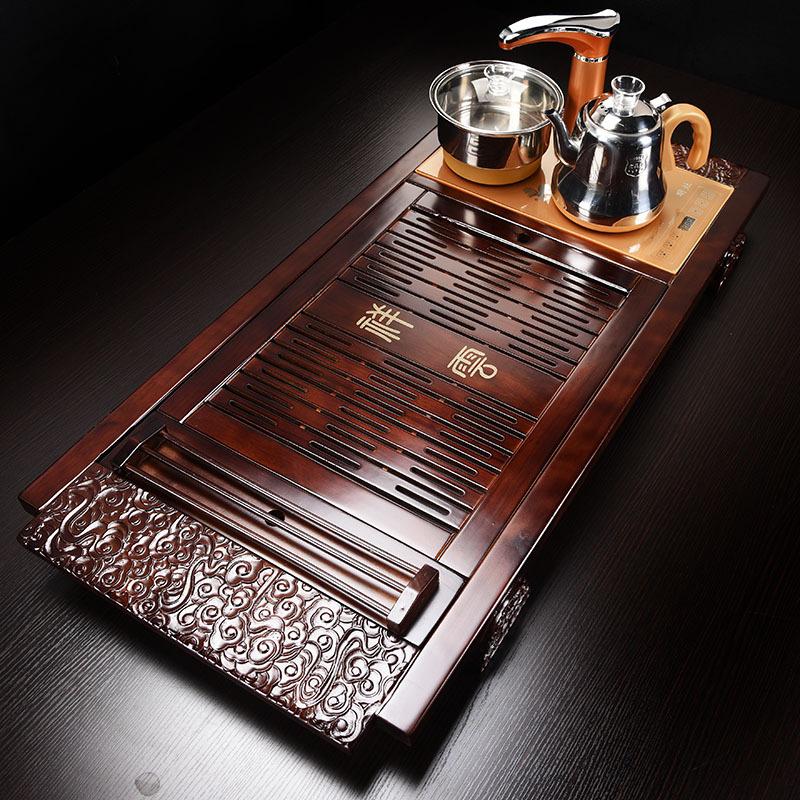 Bàn trà điện thông minh Song Gỗ Tài Lộc – Ấm chén đen