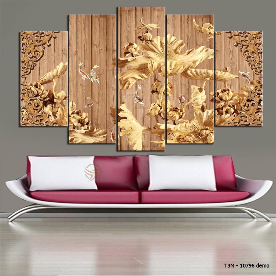Bộ 5 tấm tranh treo tường Điêu Khắc T3M-10796 /Gỗ nhập khẩu Hàn Quốc-Bo viền,chống lóa,ẩm mốc,mối mọt