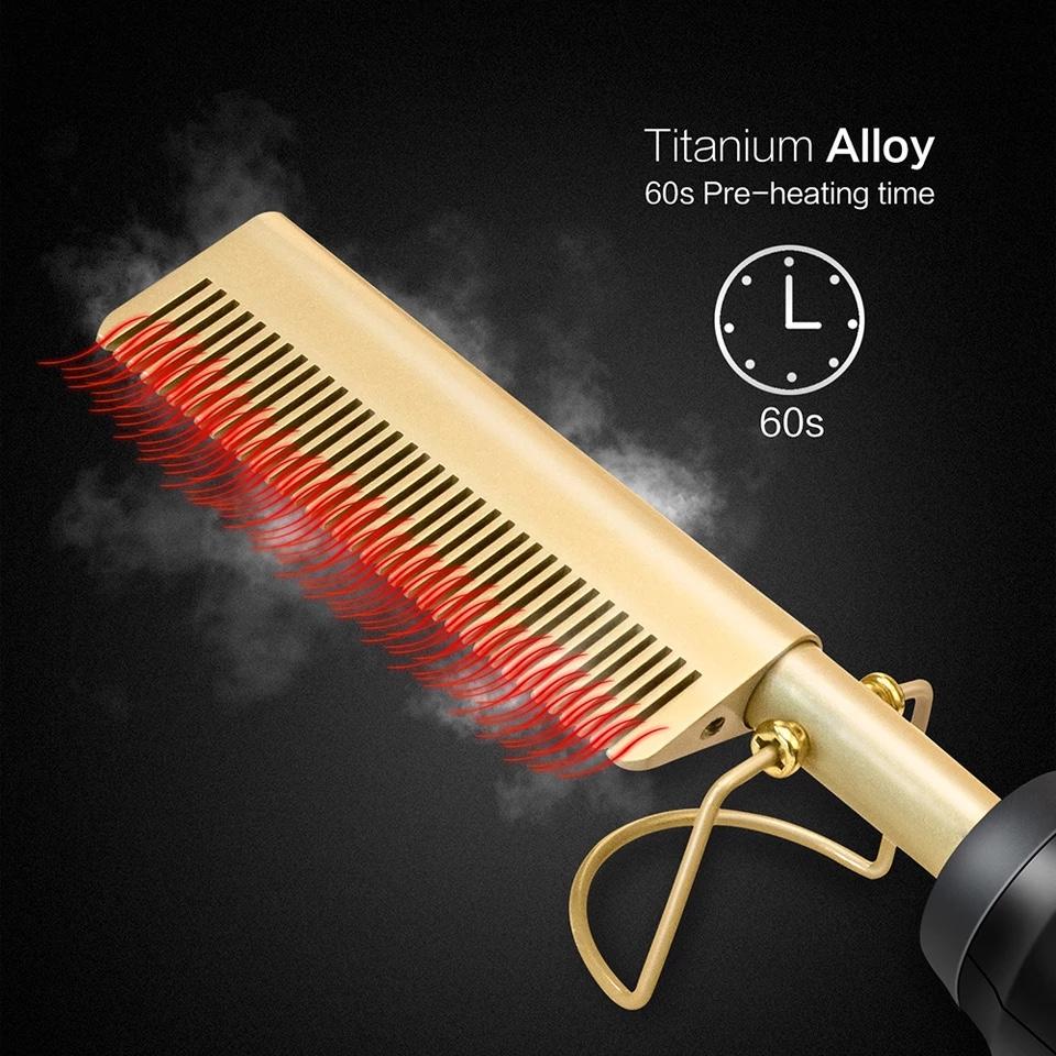 Lược điện chải tóc thẳng và uốn tạo kiểu tóc. Máy duỗi uốn cong tóc tạo kiểu,lược điên tạo kiểu tóc điều chỉnh 3 cấp độ