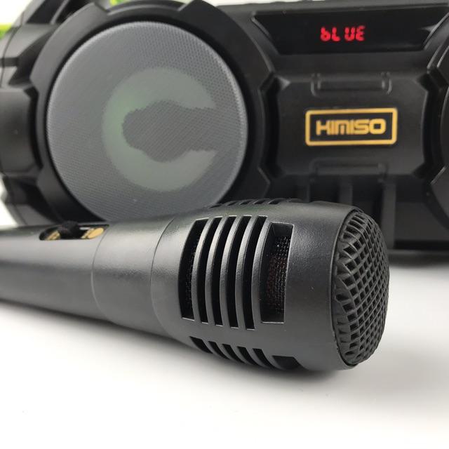 Loa Karaoke Bluetooth Xách Tay KM-S1 (Đen) Tặng Kèm 1 Mic Hát Có Dây Cắm Trực Tiếp, Bass Không Dây, Đèn Led Sống Động