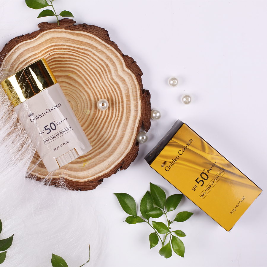 Thanh lăn chống nắng nâng tone tơ tằm vàng Golden Cocoon SPF50+ PA++++ Skin tone up Sun stick Hàn Quốc