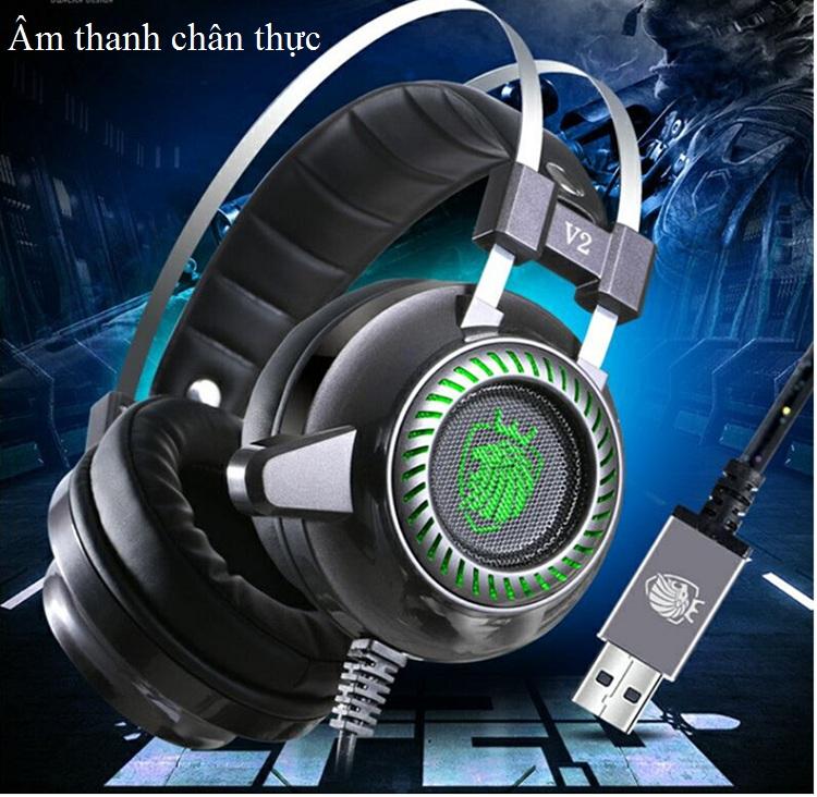 Tai nghe chụp tai Headphone có dây phát sáng 7.1 V2 - Hàng Nhập Khẩu