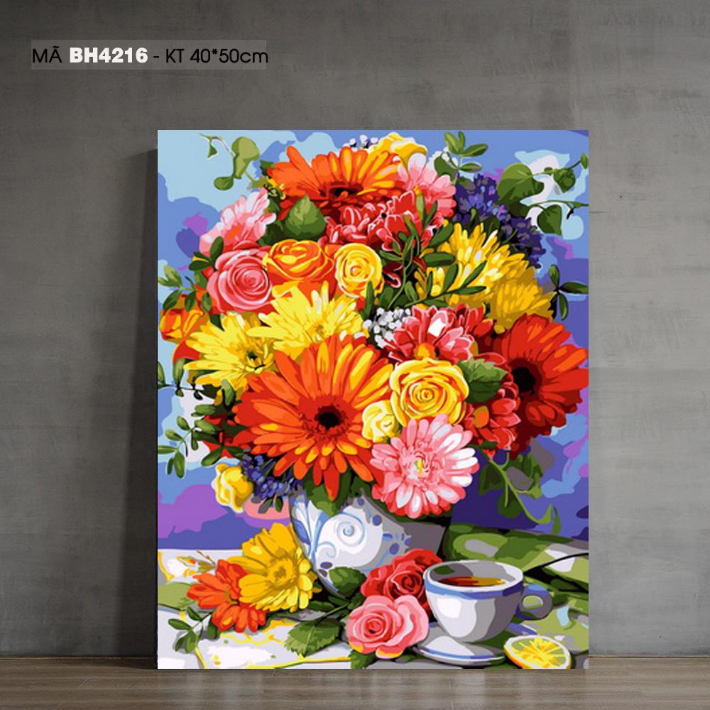 Tranh tô màu theo số tĩnh vật bình hoa và tách trà BH4216