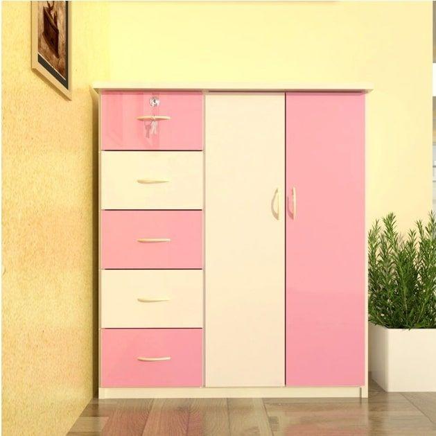 Tủ nhựa Đài Loan 2 cánh 5 ngăn T305 màu hồng (106 x 45 x 120 cm)