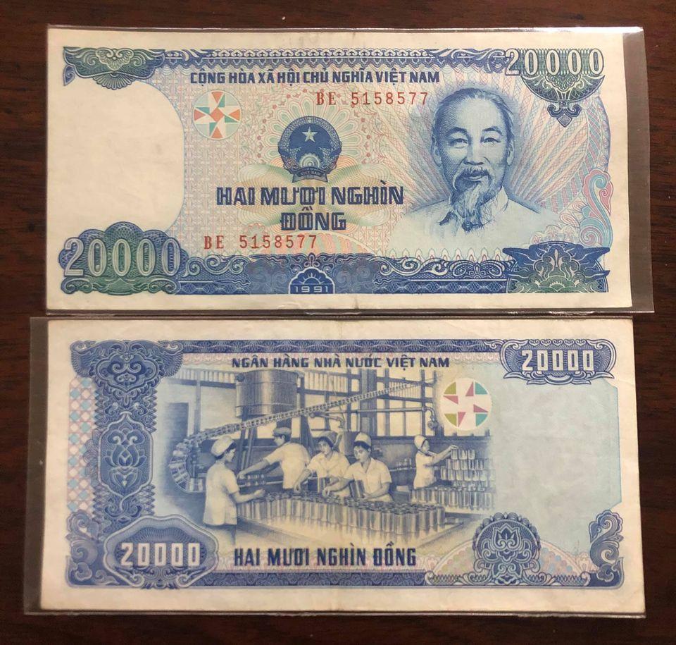Tờ 20.000 đồng Việt Nam 1991, tiền xưa bao cấp sưu tầm