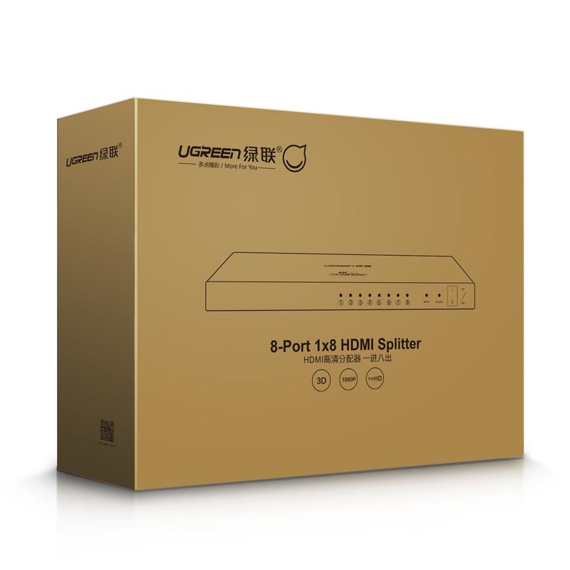 Bộ chia 1 cổng HDMI ra 8 cổng HDMI Hỗ trợ 2Kx 4K full HD UGREEN 40203 - Hàng Chính Hãng