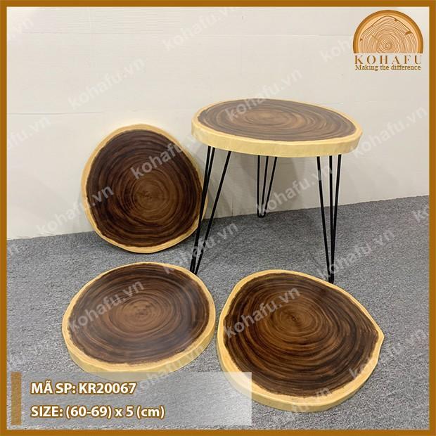 Mặt bàn cà phê, bàn trà, bàn sofa gỗ me tây nguyên tấm tròn tự nhiên KR20067