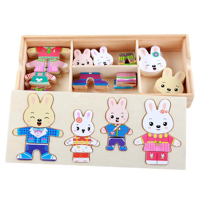 Bộ ghép hình gia đình thỏ đáng yêu cho bé