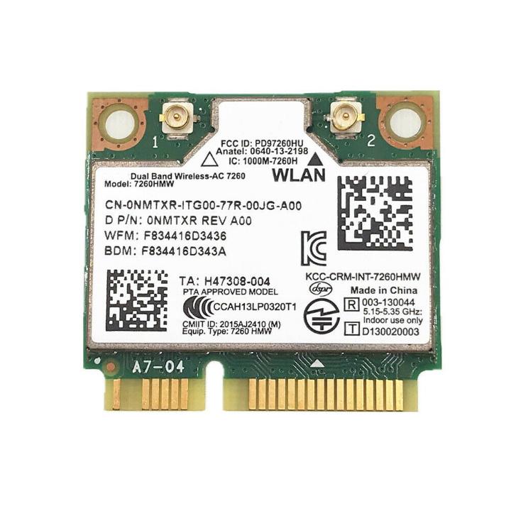Card wifi cho laptop Dual Band Wireless-AC 7260 867Mbps tích hợp bluetooth