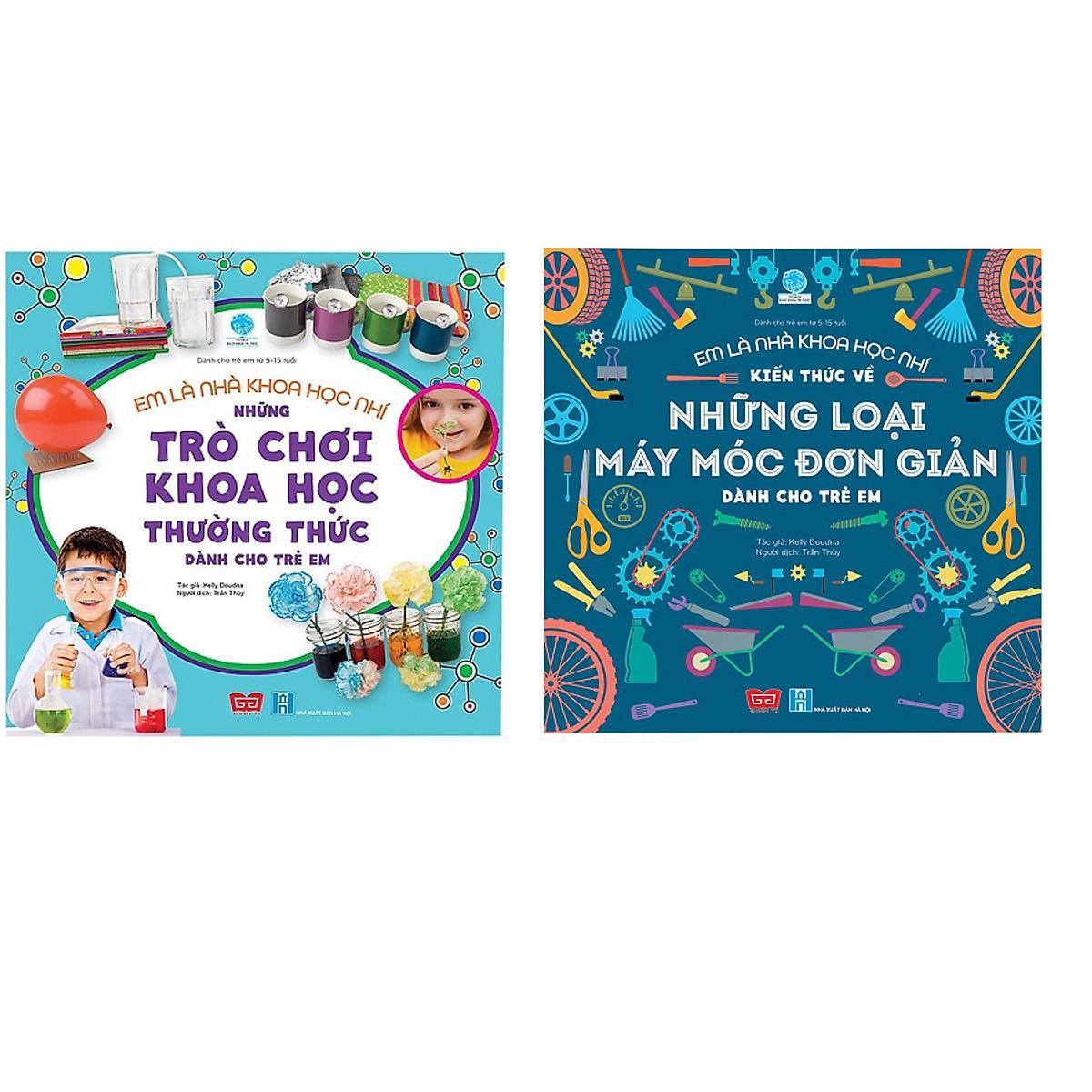Combo 2 cuốn sách giúp bé bước vào thế giới khoa học đầy kỳ thú : Em là nhà khoa học nhí - Những trò chơi khoa học thường thức dành cho trẻ em