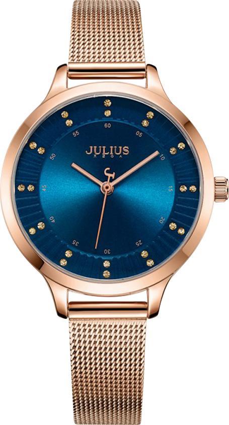 Đồng Hồ Nữ Dây Thép Julius JA-1058C (35mm) - Đồng Mặt Xanh