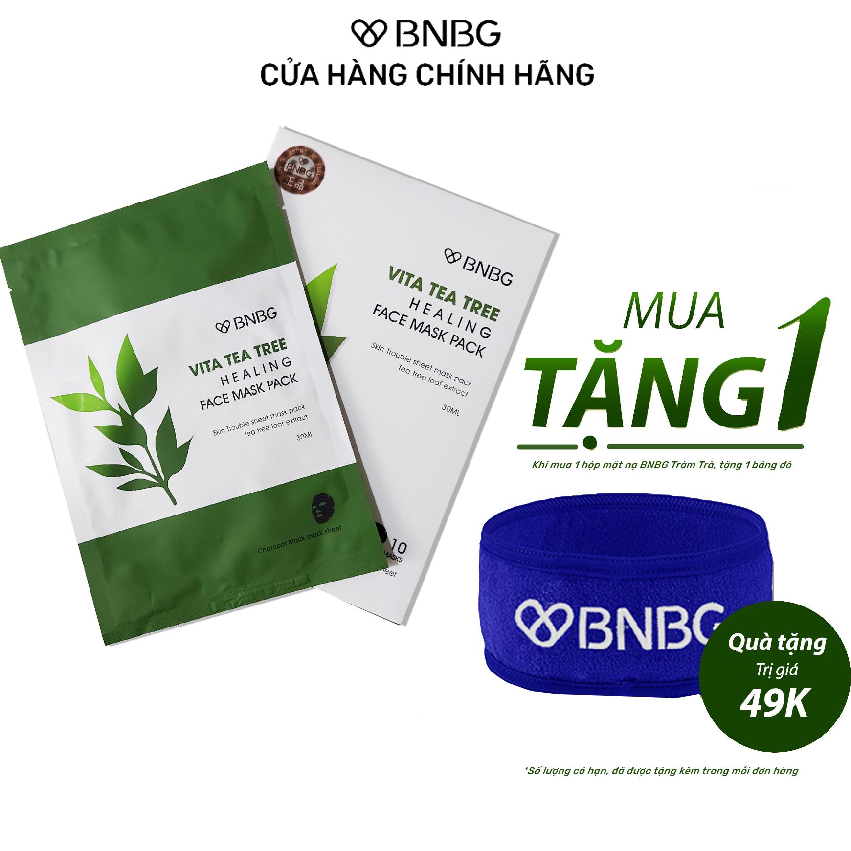 Combo 10 Mặt Nạ BNBG Tràm Trà Thải Độc Da, Giảm Mụn Vita Tea Tree Healing Face Mask Pack 30ml x10 Tặng Kèm 1 Băng Đô